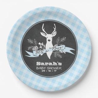 Prato De Papel Placas de papel - chá de fraldas azul da floresta