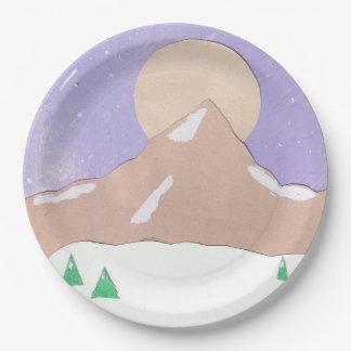 Prato De Papel Placas de papel com cena da montanha