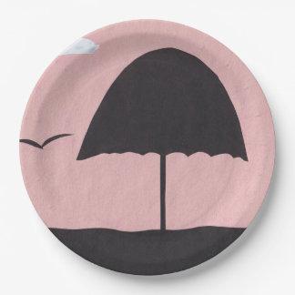 Prato De Papel Placas de papel com design do guarda-chuva de