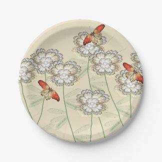 Prato De Papel Placas de papel com design floral de Digitas