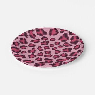 Prato De Papel Placas de papel cor-de-rosa do leopardo
