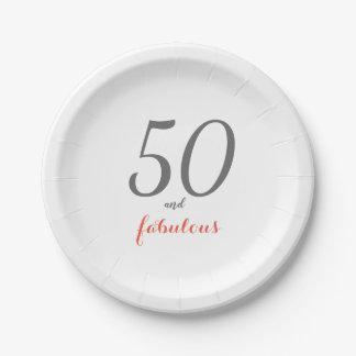 Prato De Papel Placas de papel da 50th festa de aniversário