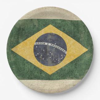 Prato De Papel Placas de papel da bandeira de Brasil