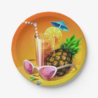 Prato De Papel Placas de papel da bebida tropical