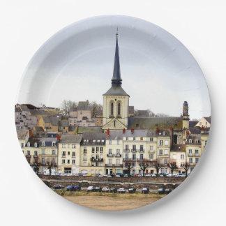 Prato De Papel Placas de papel da cena do banco de rio de Saumur
