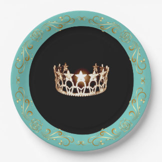 Prato De Papel Placas de papel da coroa do ouro de turquesa da