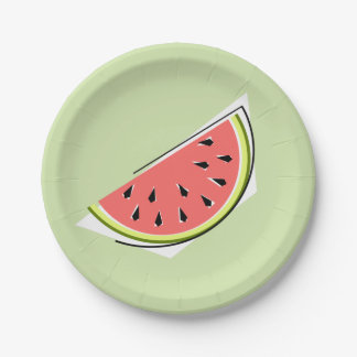 Prato De Papel Placas de papel da fatia verde da melancia