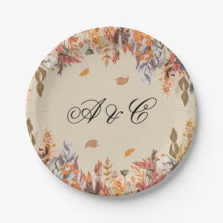 Prato De Papel Placas de papel da festa de casamento das folhas