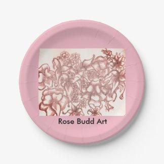 """Prato De Papel placas de papel da flor cor-de-rosa 7"""""""
