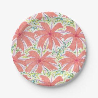Prato De Papel Placas de papel da flor tropical ensolarada