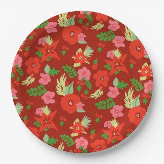 Prato De Papel Placas de papel da flora vermelha do Natal