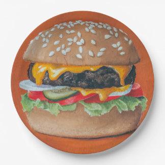 Prato De Papel Placas de papel da ilustração do Hamburger
