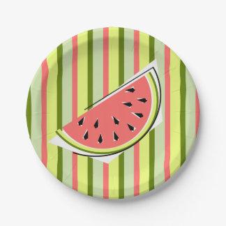 Prato De Papel Placas de papel da listra da fatia da melancia