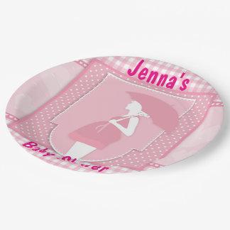 Prato De Papel Placas de papel da mamã cor-de-rosa de Pregnany do
