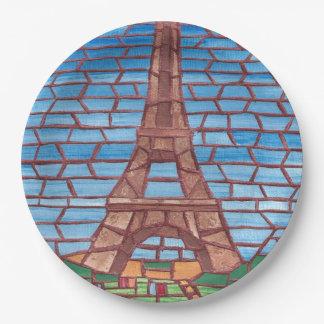 Prato De Papel Placas de papel da torre Eiffel da pintura do