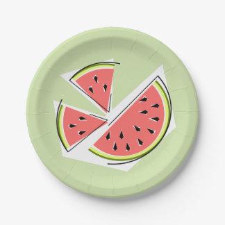 Prato De Papel Placas de papel das partes verdes da melancia