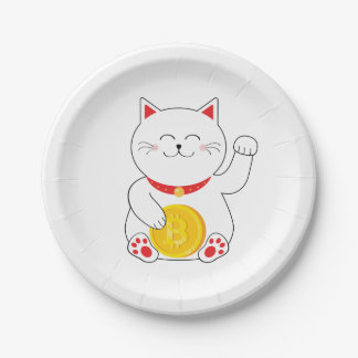 Prato De Papel Placas de papel de Bitcoin do gato afortunado de