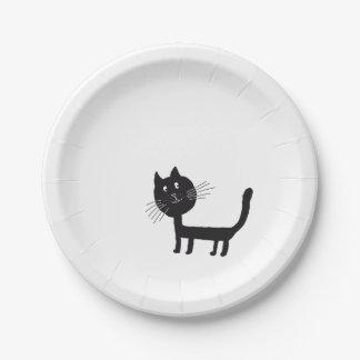 Prato De Papel Placas de papel de desenho do gato preto
