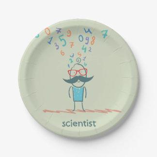 Prato De Papel Placas de papel de pensamento do cientista