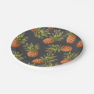 Prato De Papel Placas de papel do abacaxi escuro