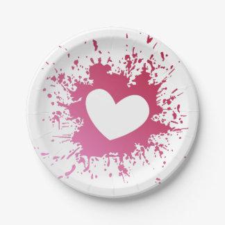 Prato De Papel Placas de papel do amor cor-de-rosa do coração