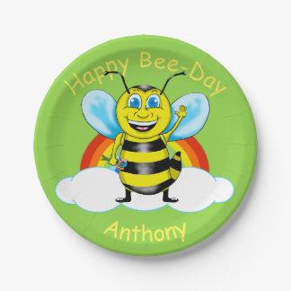 Prato De Papel Placas de papel do aniversário feliz da abelha