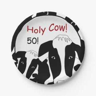 Prato De Papel Placas de papel do aniversário santamente da vaca