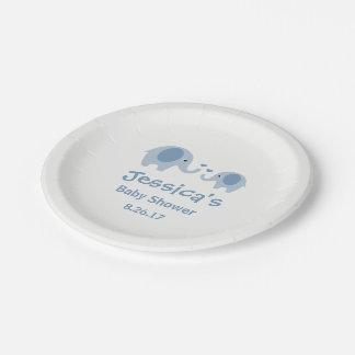 Prato De Papel Placas de papel do chá de fraldas azul & cinzento