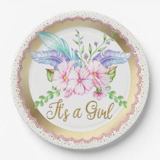 Prato De Papel Placas de papel do chá de fraldas da flor da
