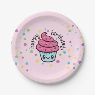 Prato De Papel Placas de papel do cupcake do feliz aniversario