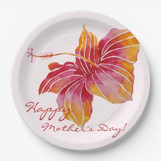 Prato De Papel Placas de papel do dia das mães floral havaiano
