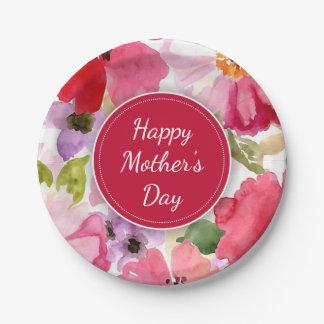 Prato De Papel Placas de papel do dia das mães vermelho floral