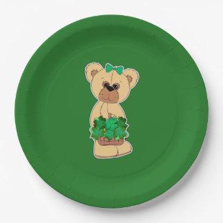Prato De Papel Placas de papel do dia de St Patrick doce do urso