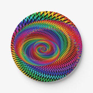 Prato De Papel Placas de papel do Fractal ondulado do arco-íris