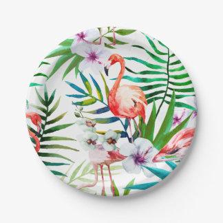 Prato De Papel Placas de papel do hibiscus tropical do flamingo
