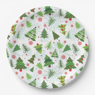 Prato De Papel Placas de papel do impressão da árvore de Natal