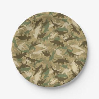Prato De Papel Placas de papel do impressão do dinossauro de Camo