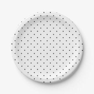 Prato De Papel Placas de papel do partido chique preto dos pontos