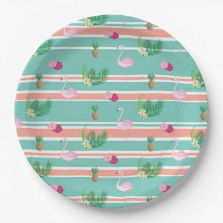 Prato De Papel Placas de papel do partido tropical do flamingo