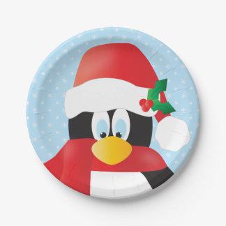 Prato De Papel Placas de papel do pinguim engraçado do Natal