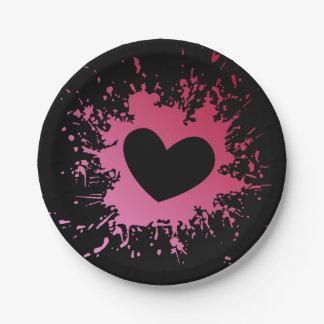 Prato De Papel Placas de papel do preto cor-de-rosa do amor do