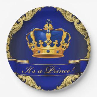 Prato De Papel Placas de papel do príncipe chá de fraldas