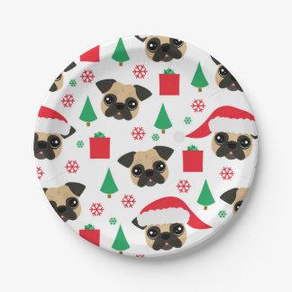 Prato De Papel Placas de papel do Pug bonito do Natal