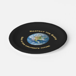 Prato De Papel Placas de papel do respeito da terra do planeta