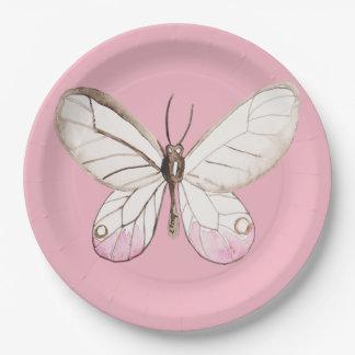 Prato De Papel Placas de papel do rosa elegante da borboleta da