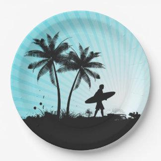 Prato De Papel Placas de papel do surfista da praia