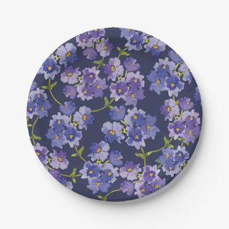 Prato De Papel Placas de papel do teste padrão floral do roxo &