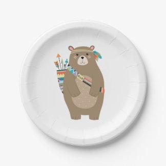 Prato De Papel Placas de papel do urso tribal