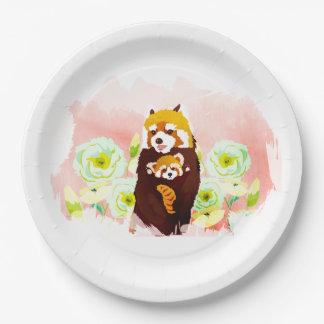 Prato De Papel Placas de papel florais cor-de-rosa de panda
