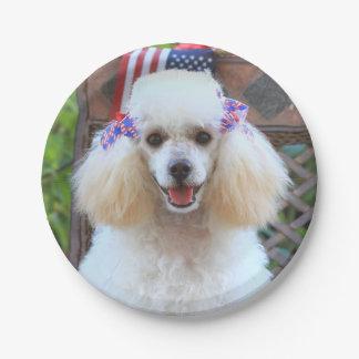 Prato De Papel Placas de papel patrióticas de cão de caniche